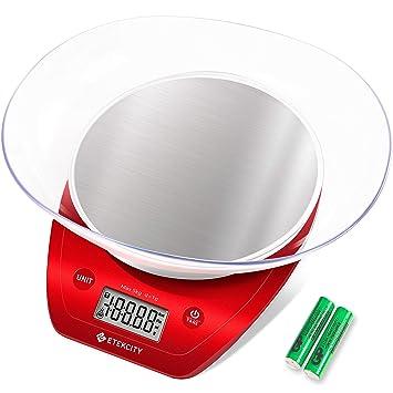 Etekcity Báscula Digital para Cocina Báscula de cocción de acero inoxidable Multifunción con bol extraíble, 5 kg / 11 lb, batería AAA incl., Rojo/ ...