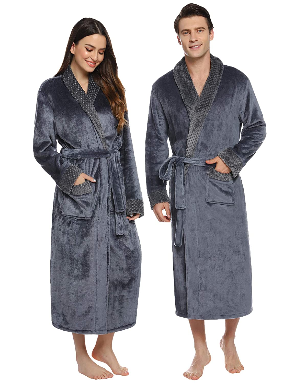 Abollria Peignoir Femme Robe de Chambre Long et /Épais Peignoir de Bain V/êtements de Nuit pour Hiver