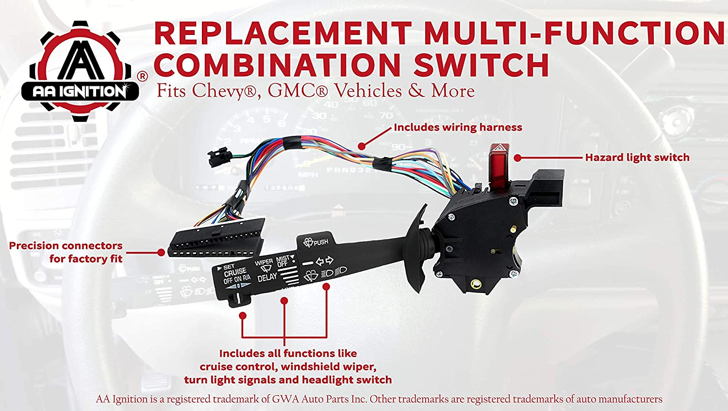 Multi Function Combination Switch Turn Signal Wiper Wiring Harness Washers Hazard Cruise Control Replaces Part 2330814 26100985 26036312