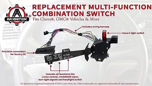 [FPWZ_2684]  Amazon.com: Multi-Function Combination Switch - Turn Signal, Wiper, Hazard  Switch - Replaces 2330814, 26100985 26036312 - Compatible with Chevrolet,  GMC Vehicles - Tahoe, Blazer, Suburban, K1500, Sierra: Industrial &  Scientific | 2000 Chevy 3500 Hazard Wiring Diagram |  | Amazon.com