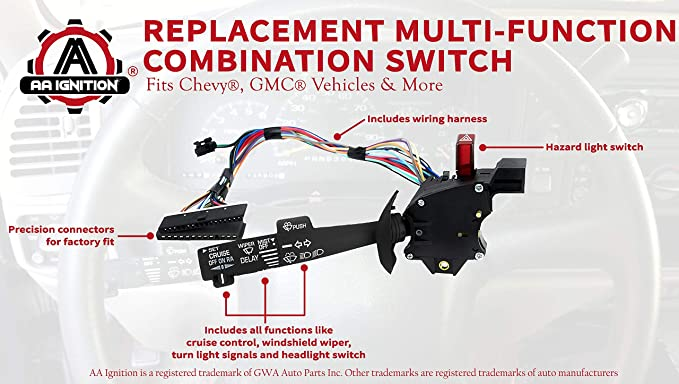 amazon com multi function combination switch turn signal  2000 chevy 3500 hazard wiring diagram #3