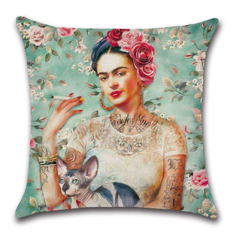 WOVELOT Pintura de Mujer Frida Kahlo Funda de Almohada Cubierta de cojin de su Cabeza (Blanco)