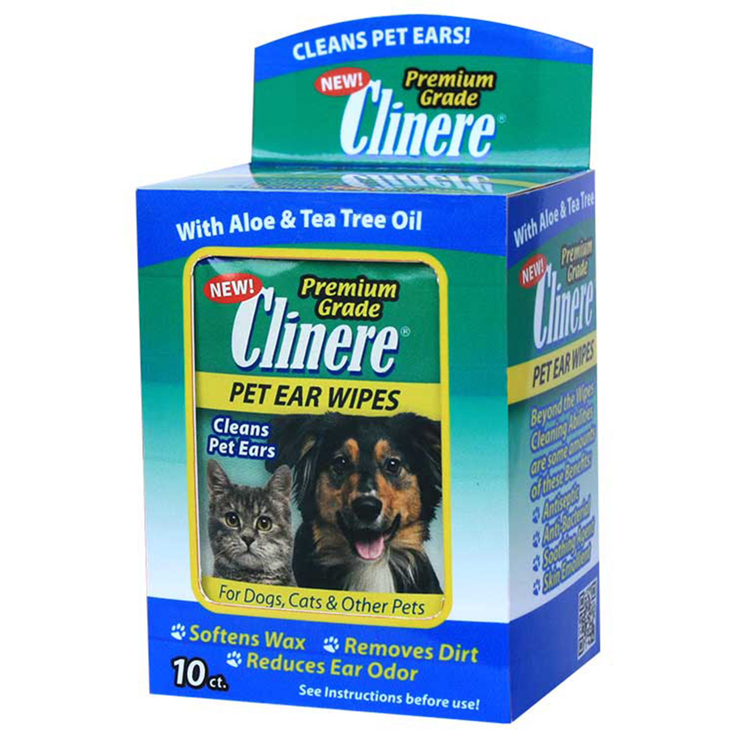 Clinere 10 Count Pet Ear Cleaning Wipes, 5'' x 4.5'', White