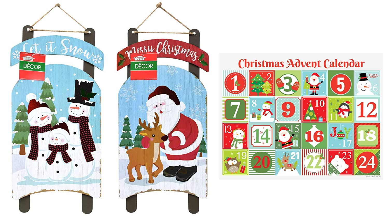 Amazon.com: Christmas Rustic Wooden Signs and Advent Calendar Set, Indoor and Outdoor Holiday Home Decor Set, Christmas Wall or Door Wood Sign, ...