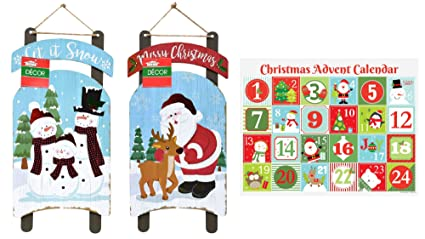 Christmas Rustic Wooden Signs and Advent Calendar Set, Indoor and Outdoor Holiday Home Decor Set