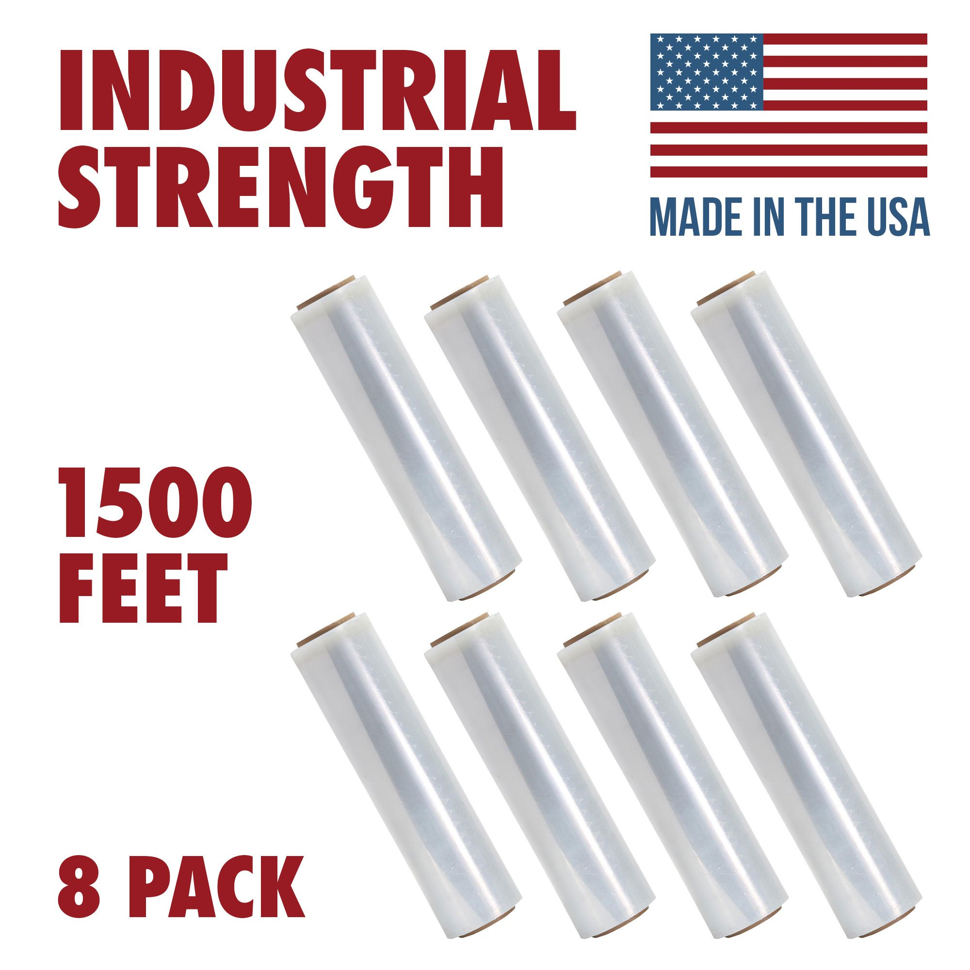 18 Inch X 1500 feet Tough Pallet Shrink Wrap, 80 Gauge Industrial Strength, Commercial Grade Strength Film, Moving & Packing Wrap, For Furniture, Boxes, Pallets (8-Pack) by Ox Plastics