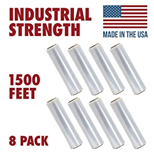 18 Inch X 1500 feet Tough Pallet Shrink Wrap, 80 Gauge Industrial Strength, Commercial Grade Strength Film, Moving & Packing Wrap, For Furniture, Boxes, Pallets (8-Pack)