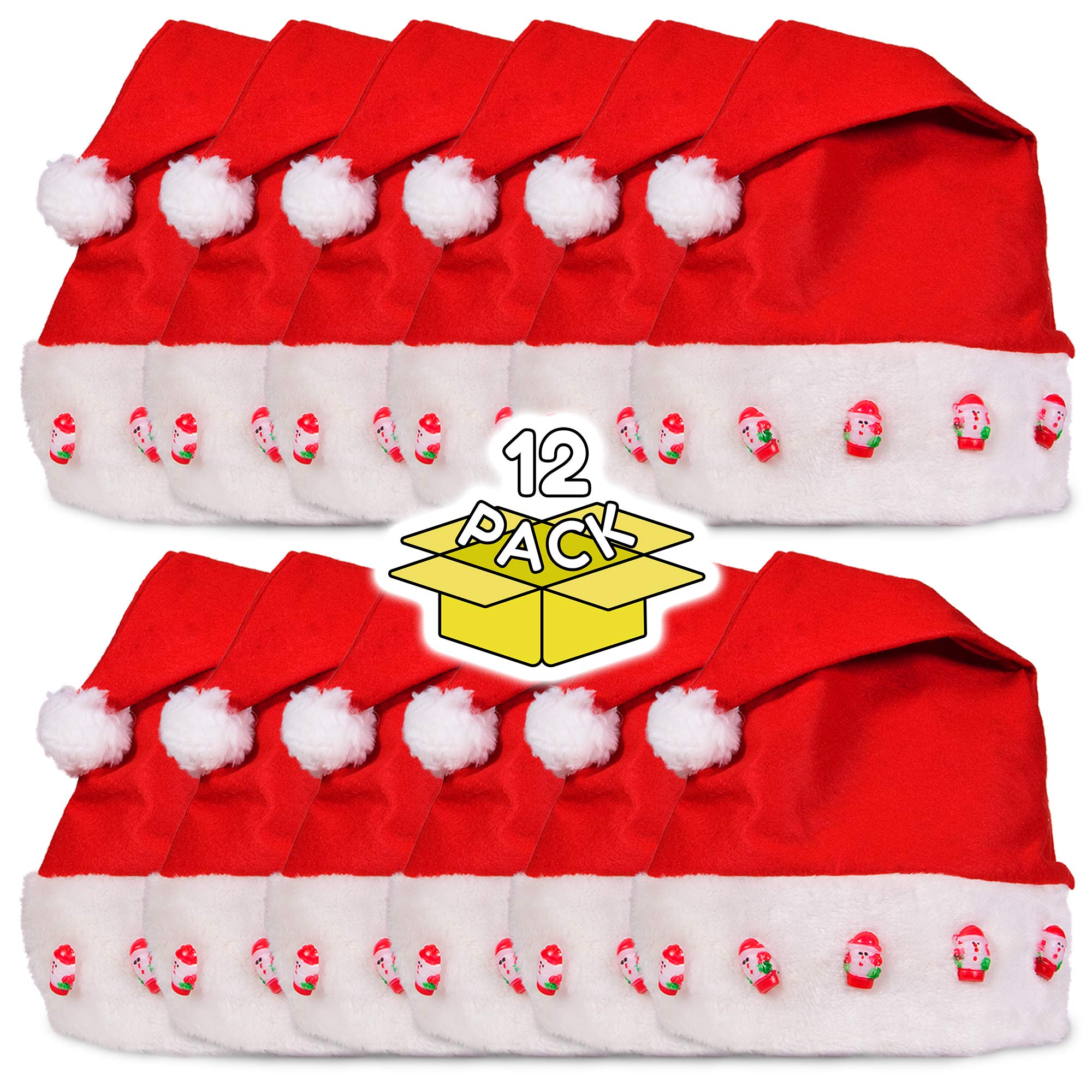 LED Light Up Blinking Festive Christmas Santa Hat - Family 12 Pack