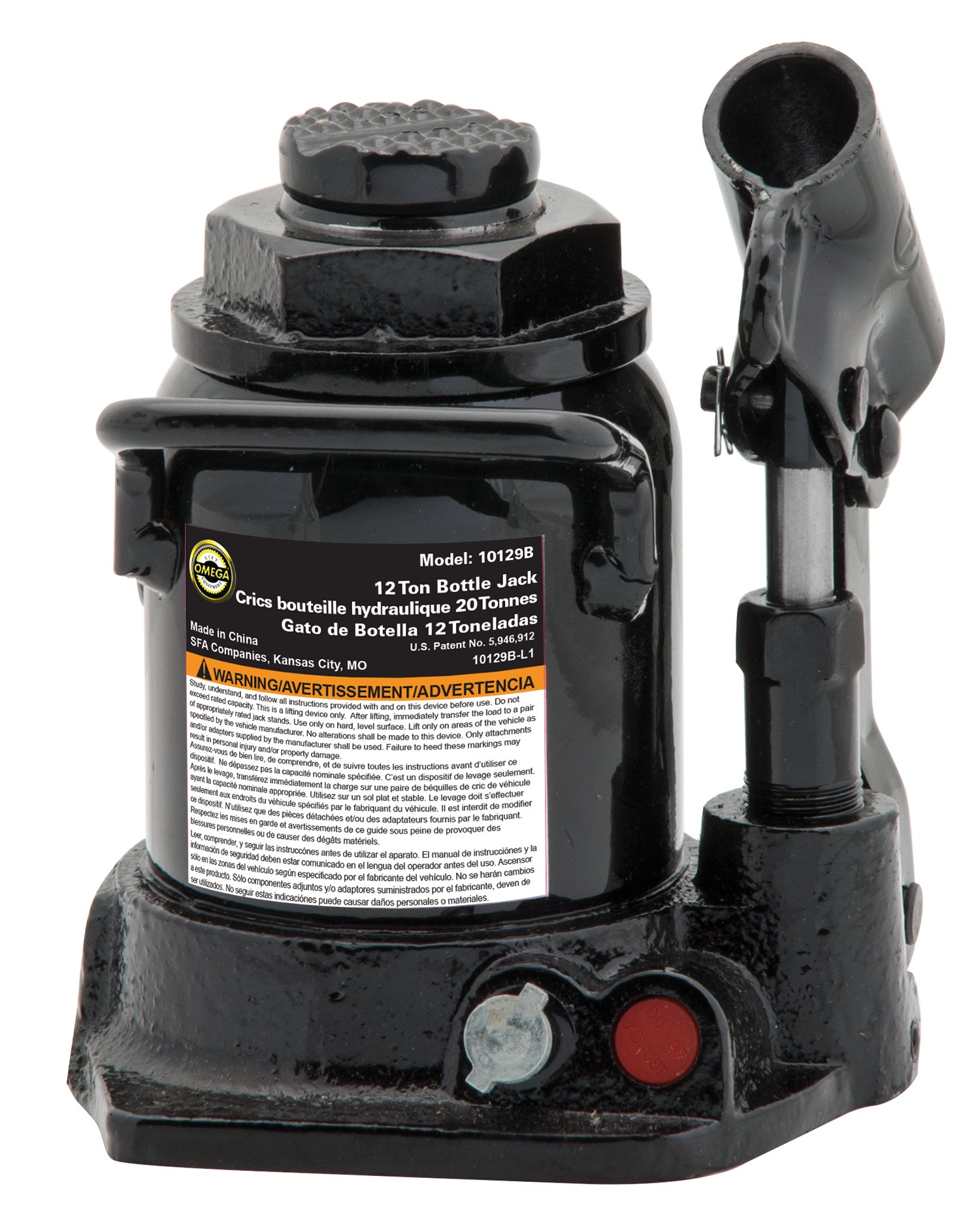 Omega 10129B Black Shorty Hydraulic Bottle Jack - 12 Ton Capacity