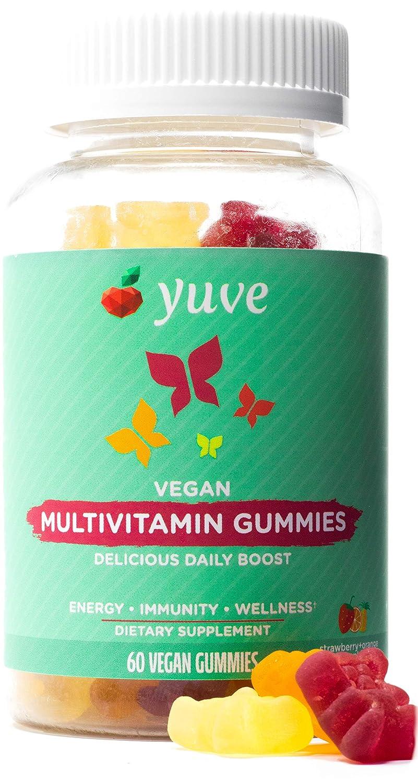 Yuve Vegan Multivitamin Gummies for Men and Women - Daily Energy, Strength, Immunity - Vitamin A, C, B3, B6, B12, Biotin & Zinc - Delicious Chewable Supplement - Non-GMO, Gluten & Gelatin-Free - 60ct