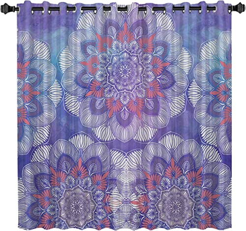 TocaHome Blackout Grommet Curtains Thermal Insulated Light Blocking Curtains Purple Mandala Style Bohemian Flower Ethnic Pattern 52