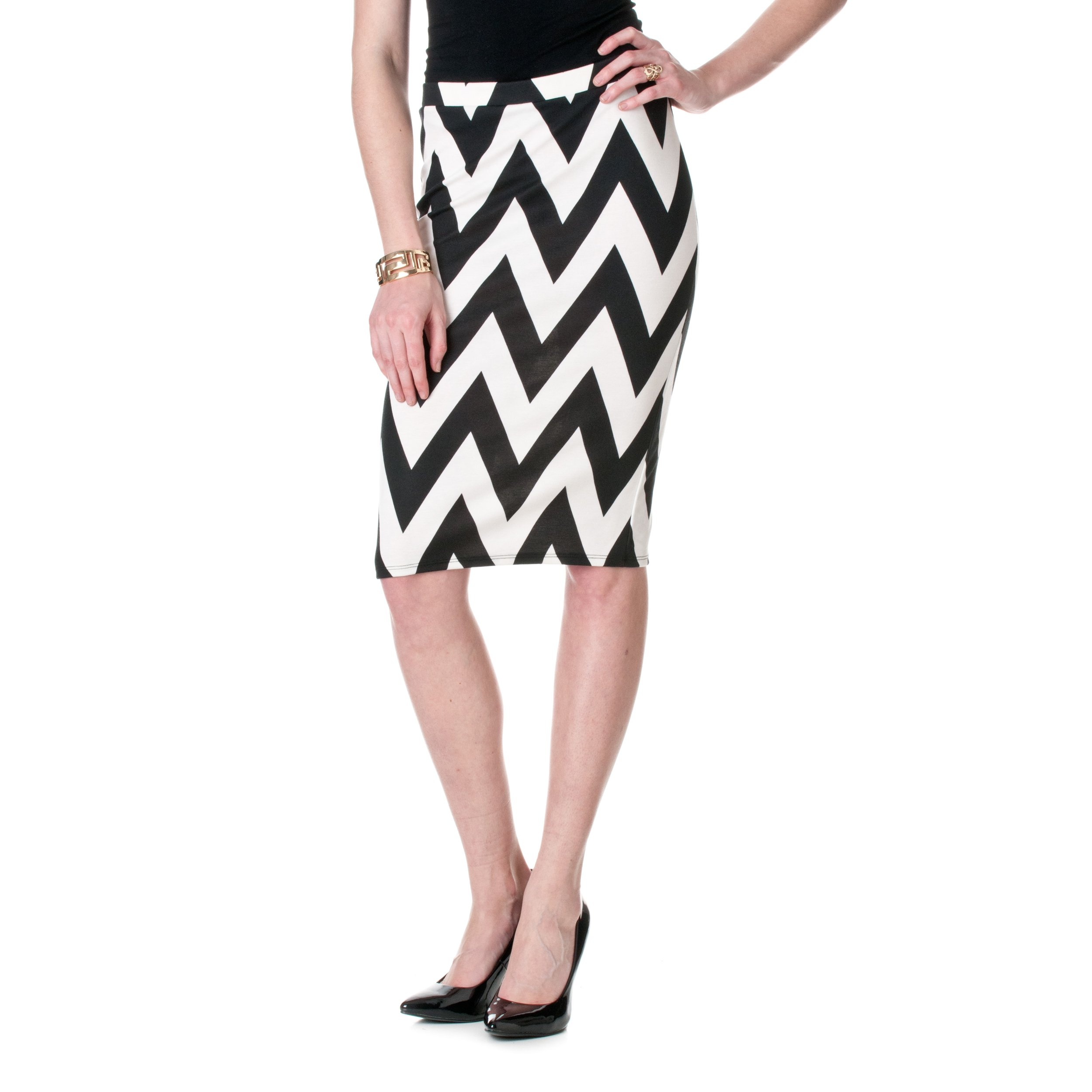 Riverberry MOA Collection by Chevron Stretch Knit Pencil Skirt, White/Black, Large