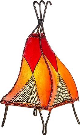 Lampe de table de chevet marocaine Emel 37cm   Abat jour marocain oriental en cuir et henné   petite lampadaire sur pied orientale du Maroc comme