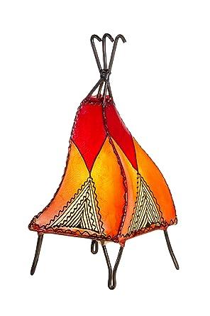 Lámpara de mesa oriental Emel 37cm de cuero Hennal - portavelas - forro de cuero - decoración de Marruecos - naranja, natural, rojo (clase A++)