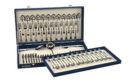 Monix Venecia - Set de cubiertos 75 piezas, cubiertos de acero inox 18/10 con cuchillo chuletero, estuche normal: Amazon.es: Hogar