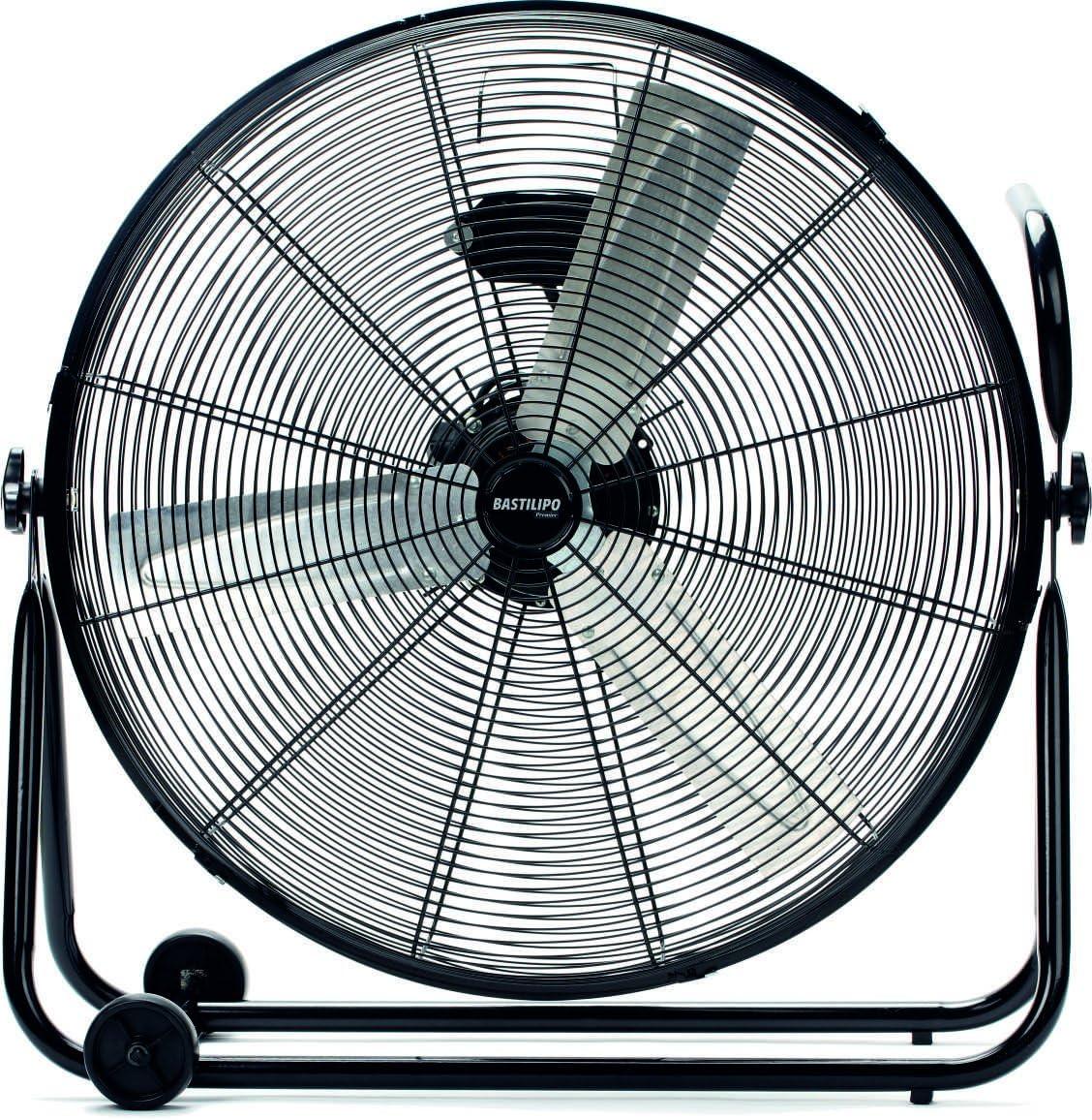 Bastilipo Huracán Ventilador Industrial de Suelo, 140 W, Acero Inoxidable, 3 Velocidades, Negro