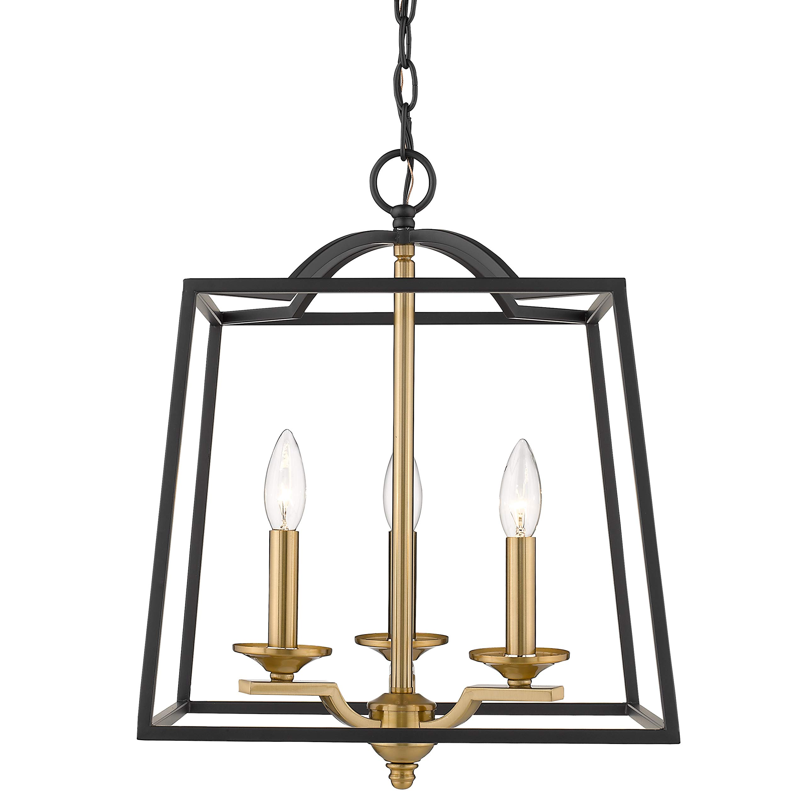 Emliviar 3 Light Foyer Chandelier, Pendant Light with Lantern Style Cage Hanging Light Fixture for Hall Kitchen Island, Black and Gold Finish, 2086P-3 BG