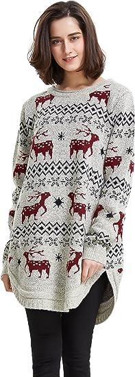 TALLA L. shineflow - Jerséi - Casual - para Mujer Negro Mujer Punto Navidad Suéter De