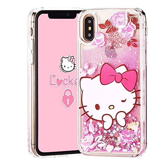 8976b6fc42eff Logee Quicksand Kitty Pink Bling Glitter Girls Case for iPhone XR 6.1