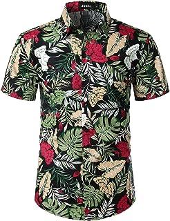 iLXHD Men Short Sleeve Plaid Twill Shirt Printed Hawaiian Top Blouse Casual Button Down Short Sleeve