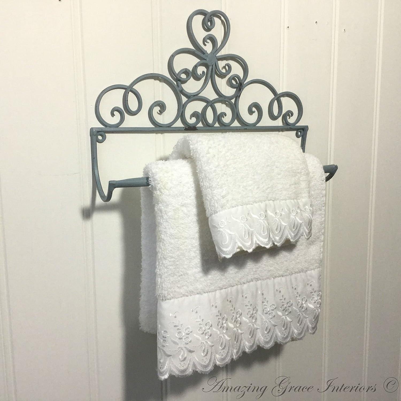Stylish Sturdy Scroll Wall Mounting Shabby Chic Towel Holder with Shelf Black