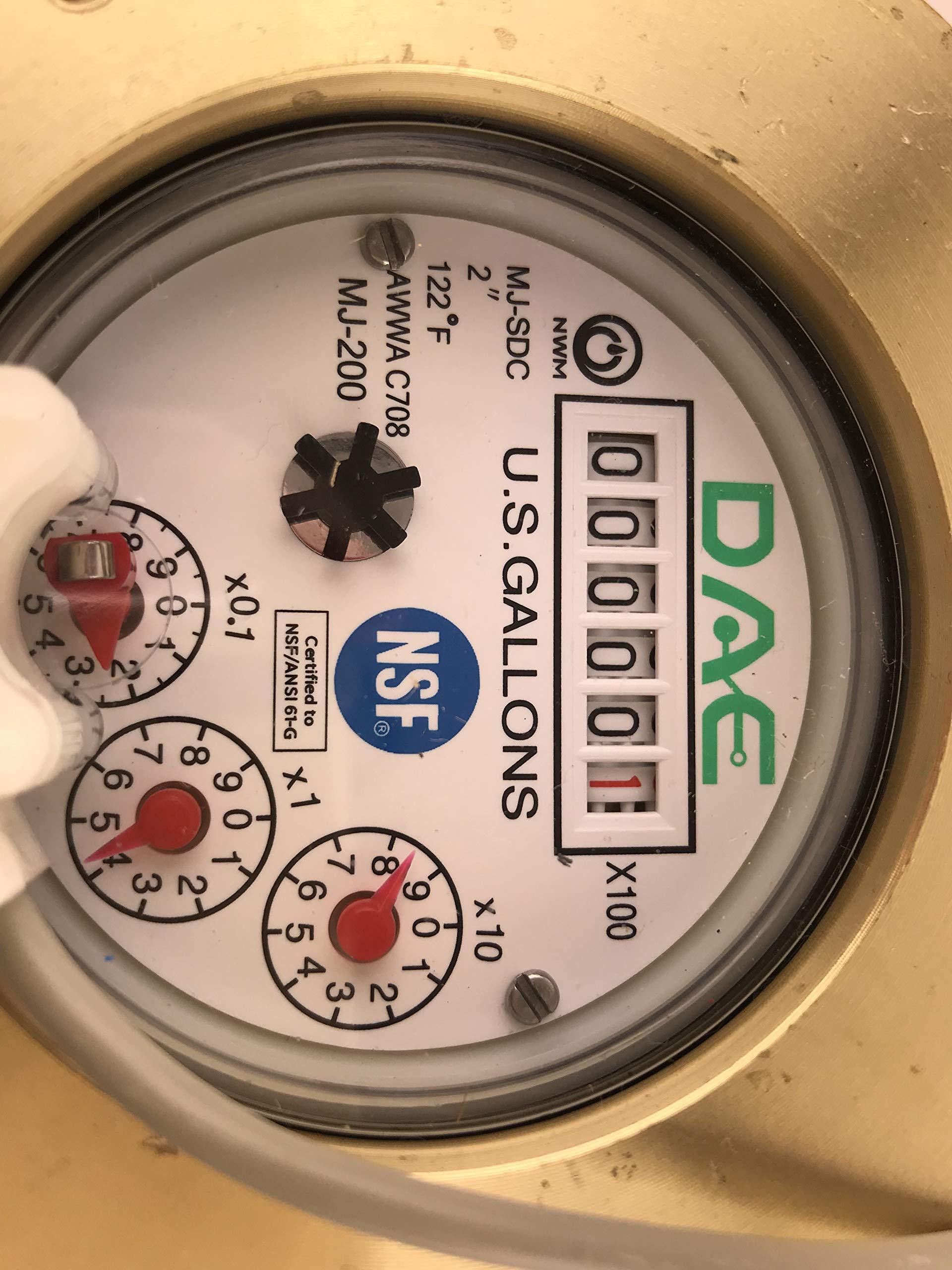 DAE MJ-200 2'' NSF61 Lead Free Potable Water Meter, Pulse Output + Couplings by DAE