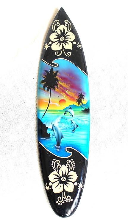 Miniatura dekosurfb oard Surf madera onda Jinete Altura 20 cm, incluye soporte de madera decoración