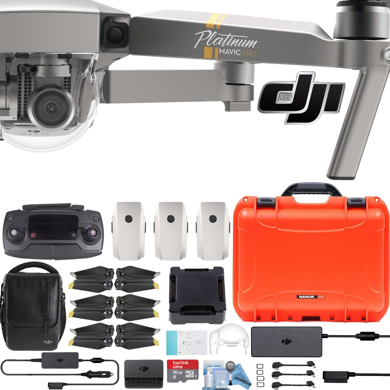 DJI Mavic Pro/Air/Platinum Combo with耐衝撃+防水ハードケース+パイロットバンドル Mavic Pro Platinum Fly More Combo DJIMAVICPRO B079T67QM6 Mavic Pro Platinum Fly More Combo|W/ Hard Case Orange W/ Hard Case Orange Mavic Pro Platinum Fly More Combo