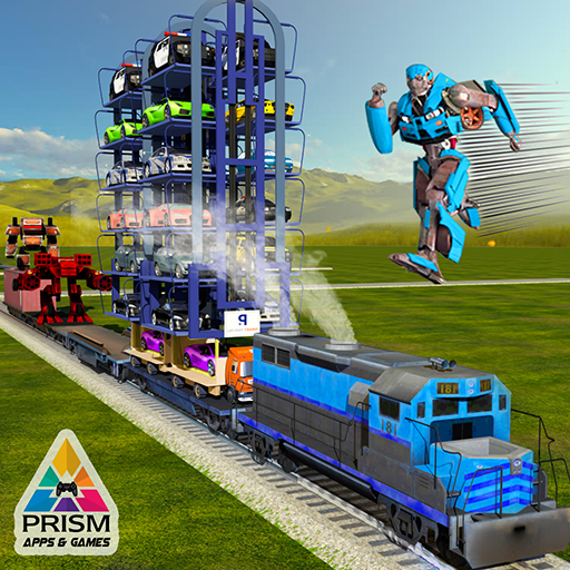 Robot Muscle Car Transforming Train Transport Tycoon: Smart Crane Driving and Parking Adventure Games Free For Kids