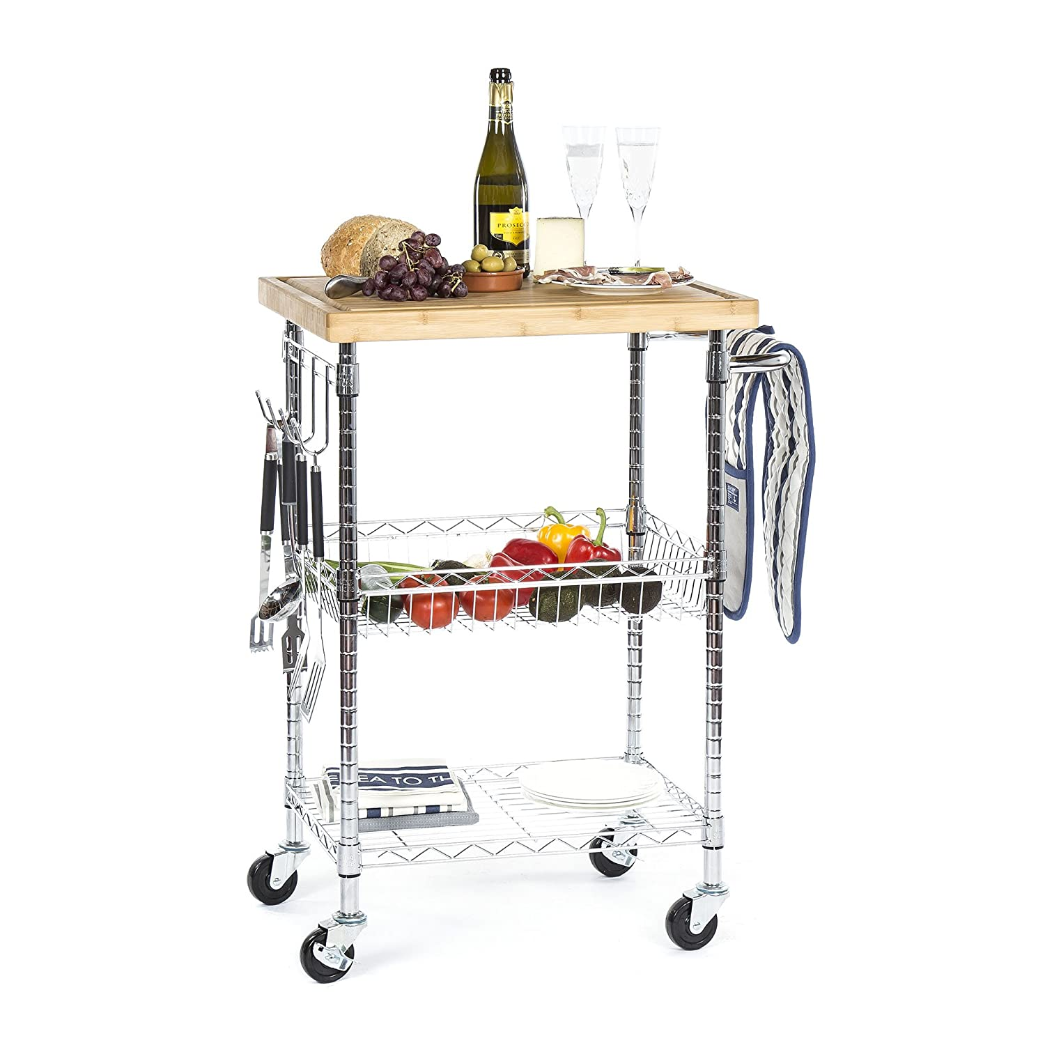 Lavish Chrome Christmas Drink and Food 3 Tier Trolley Cart, with Removable 38mm Bamboo Butchers Block/Chopping Board (933mm H x 710mm W x 500mm D) Free New Day Delivery Racking Solutions
