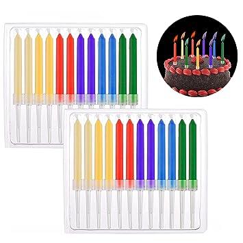 Xrten 24 Piezas Velas de Cumpleaños con Llamas de Colores para Decoración de Tarta de Cumpleaños Boda Fiesta