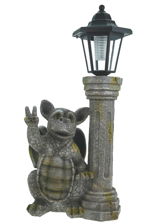 Dragon child peace sign with solar lantern Garden figurine Gargoyle sculpture Udo Schmidt