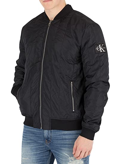 b43236409 Calvin Klein Jeans Men's Quilted Bomber Jacket, Black: Amazon.co.uk ...