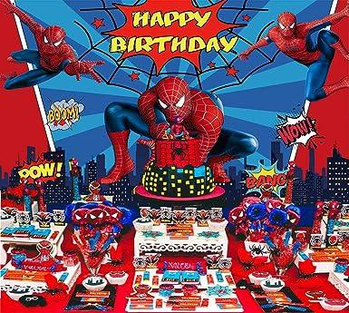 Telón De Fondo Spiderman Marvel Birthday Banner Superhéroe Fondo Niños Fiesta Suministros Niños Banner Fotografía Decoraciones