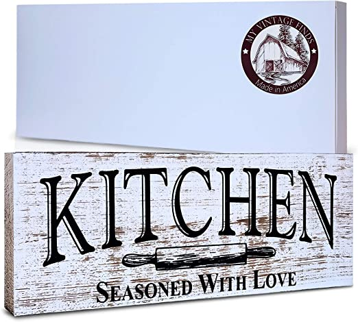 Amazon Com Kitchen Sign Rustic Kitchen Decor Farmhouse Wall Decor Made In America Kitchen Sign Wall Decor And Decorations Home Kitchen