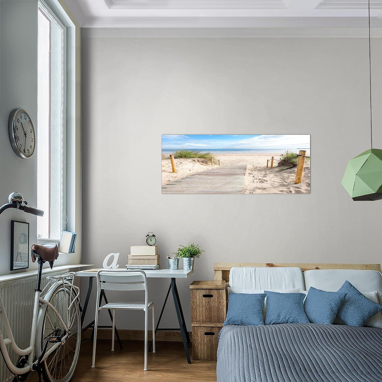 MADE IN GERMANY Leinwand Bild XXL Format Wandbilder Wohnzimmer Wohnung Deko Kunstdrucke Blau 1 Teilig Bilder Strand Meer Wandbild Vlies Fertig zum Aufh/ängen 607312a