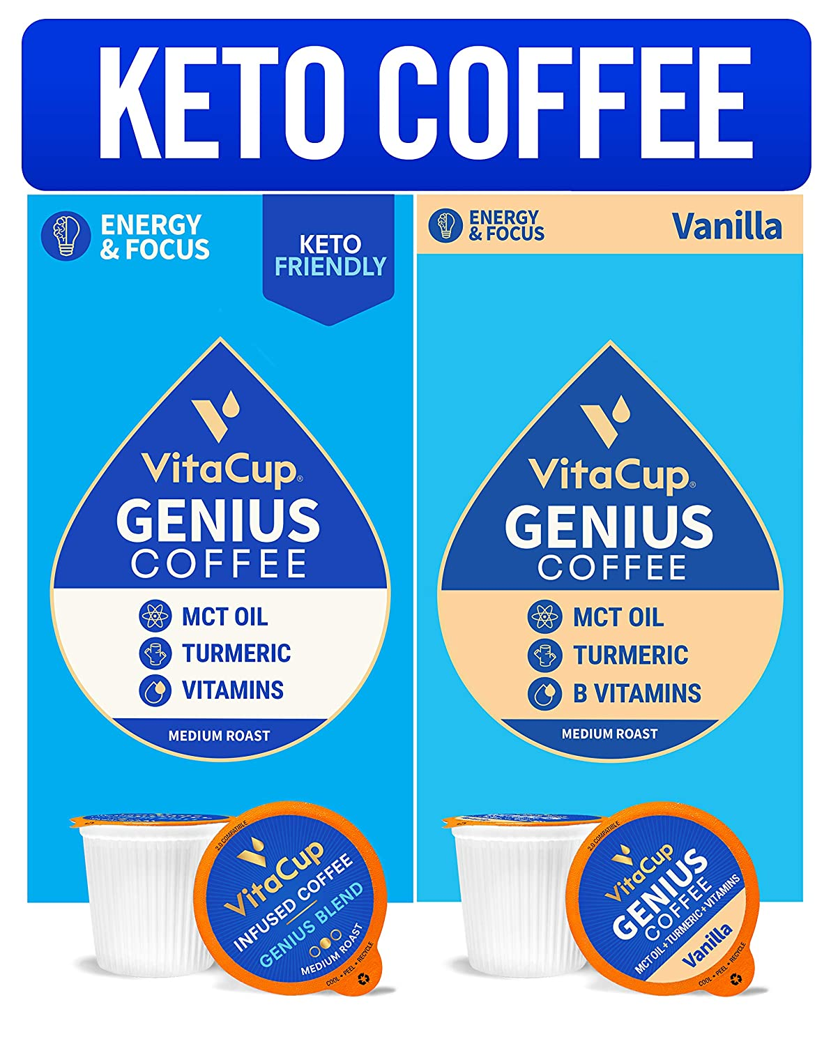 Vitacup Genius & Genius Vanilla Blend Coffee 32 Pod Bundle | Energy & Focus |Superfood & Vitamins Infused | Variety Pack of (2) 16 Count Single Serve Recyclable Pods Compatible with K-Cup Brewers
