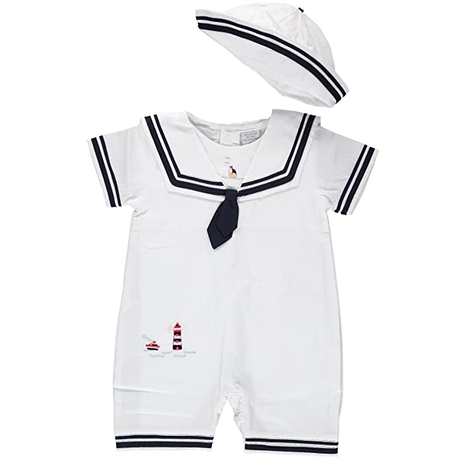 Vintage Style Children's Clothing: Girls, Boys, Baby, Toddler Carriage Boutique White Sailor Shortall & Hat $48.00 AT vintagedancer.com