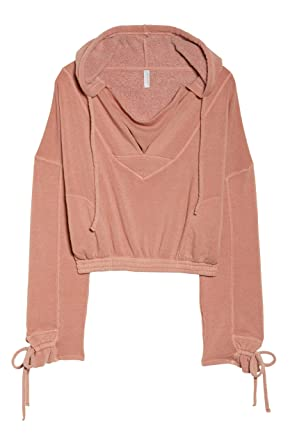 706cdc3221 Amazon.com  Free People Women s Ojai Crop Hoodie (Grand Canyon Red Rose