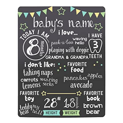 Kate & Milo Stars Baby Monthly Milestone Chalkboard, Baby Photo Prop Board, Baby Gift, Black : Baby