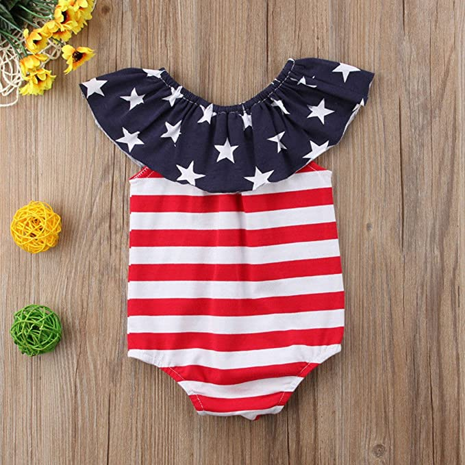 b328b0ddfb0e Amazon.com  WINAGAINER Baby Girl Boy American Flag Romper Bodysuit Stripes  Star Print Clothes 4th of July Newborn Outfit  Clothing