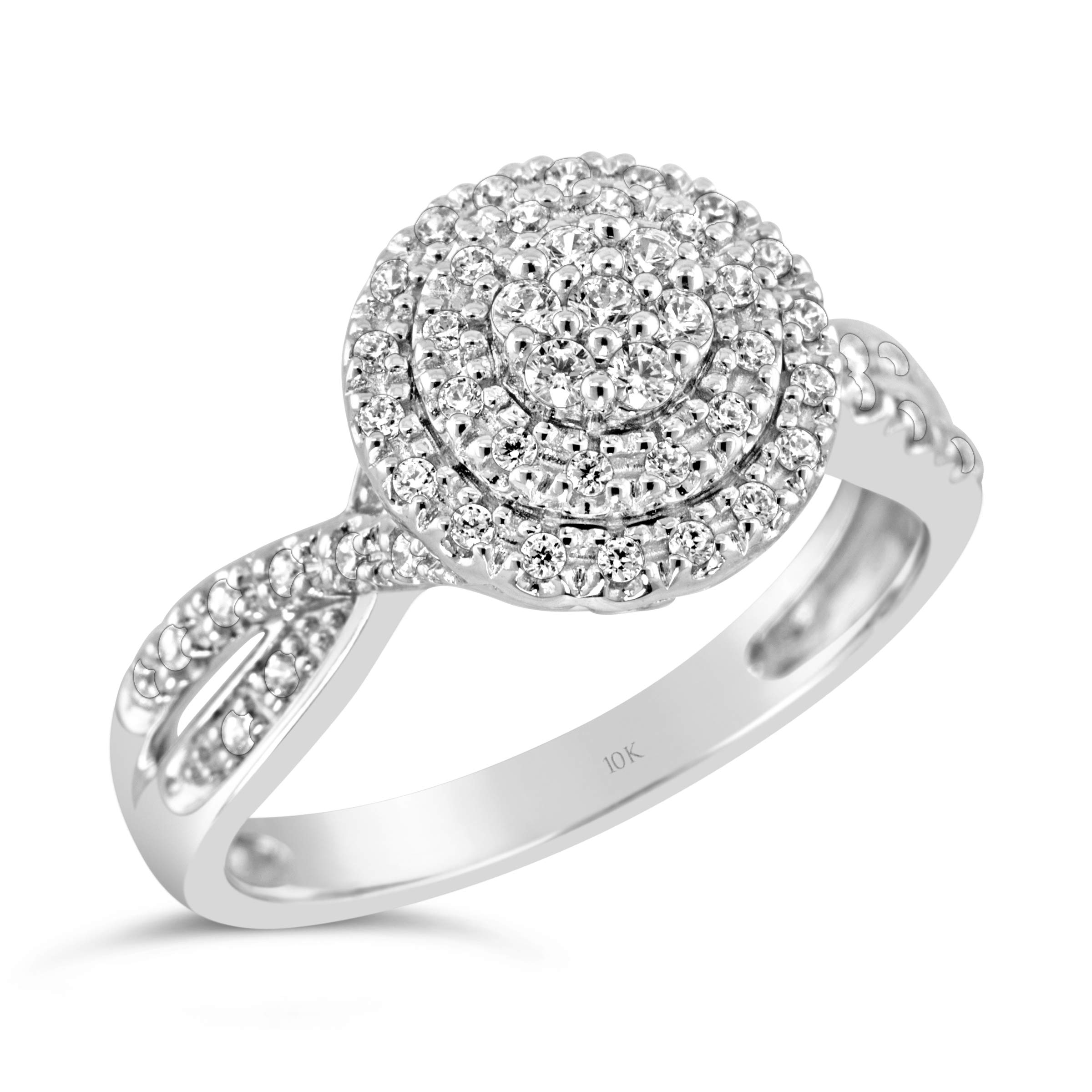 Brilliant Expressions 10K White Gold 1/3 Cttw Conflict Free Diamond Triple Halo Engagement Ring (I-J Color, I2-I3 Clarity), Size 6