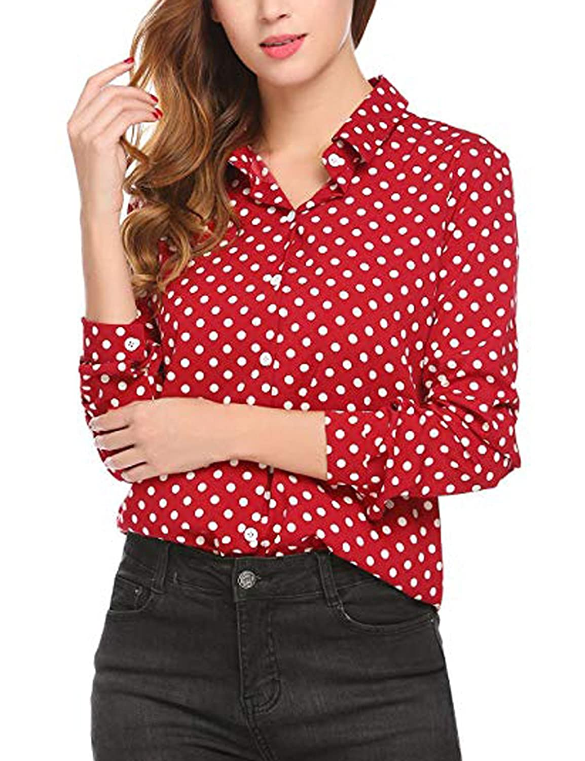 6280af10 ... made of chiffon, loose, comfortable and soft in dressing. Turn down  collar, long sleeve, polka dot, button down shirt. Casual loose comfortable  fit to ...