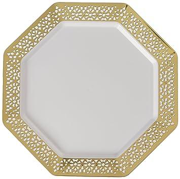 Lillian Tablesettings 10 Count Lacetagon Plate with Gold Rim 9.25u0026quot; ...  sc 1 st  Amazon.com & Amazon.com: Lillian Tablesettings 10 Count Lacetagon Plate with Gold ...
