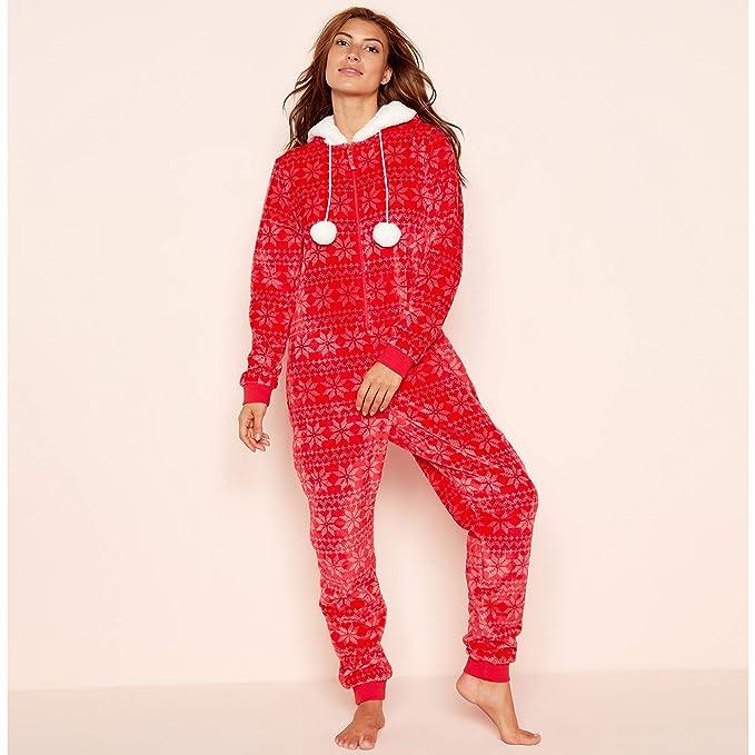 08efc308b9d0 Lounge   Sleep Womens Petite Red Fair Isle Print Fleece Hooded All in One  Jumpsuit 20  Lounge   Sleep  Amazon.co.uk  Clothing