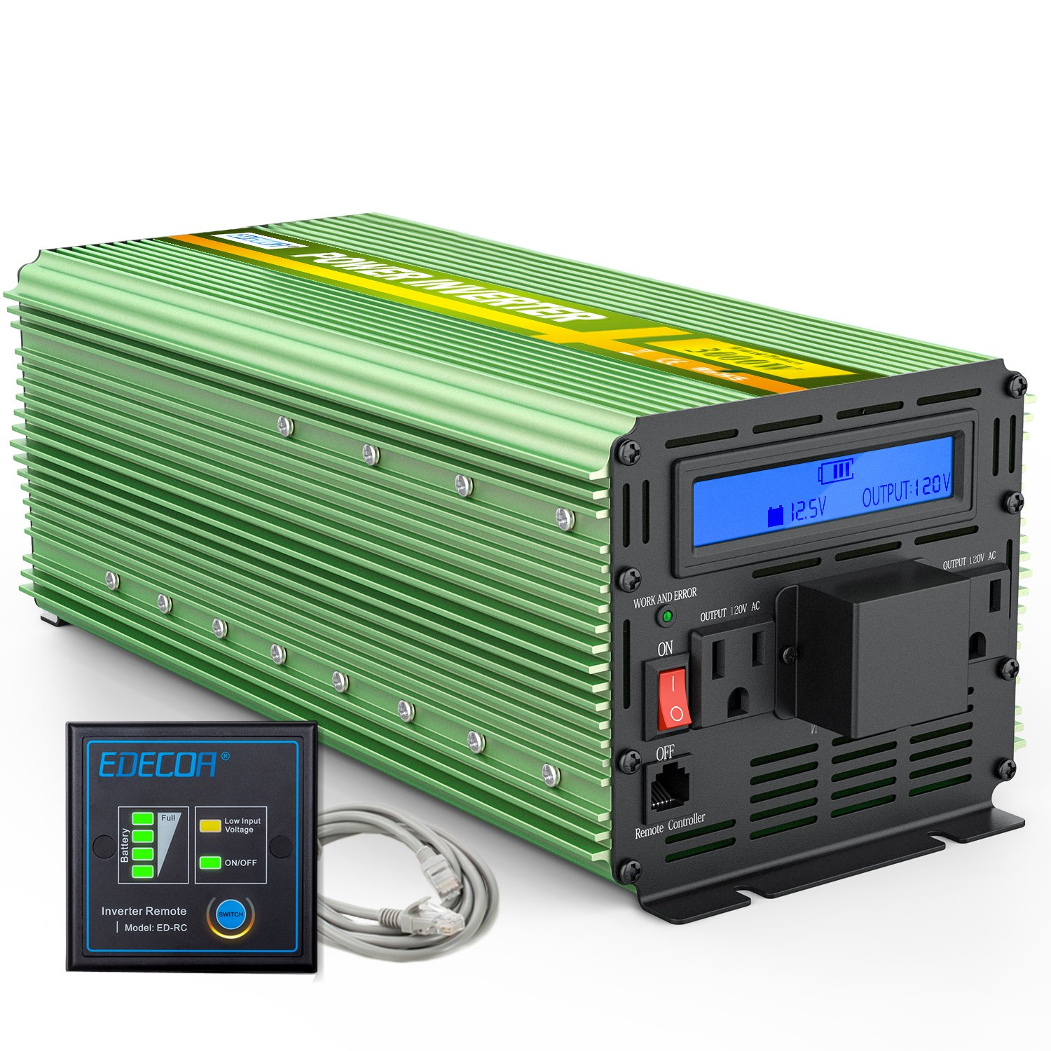 EDECOA 3000 Watts Power Inverter DC 12V to 110V AC with LCD Display and Remote Controller