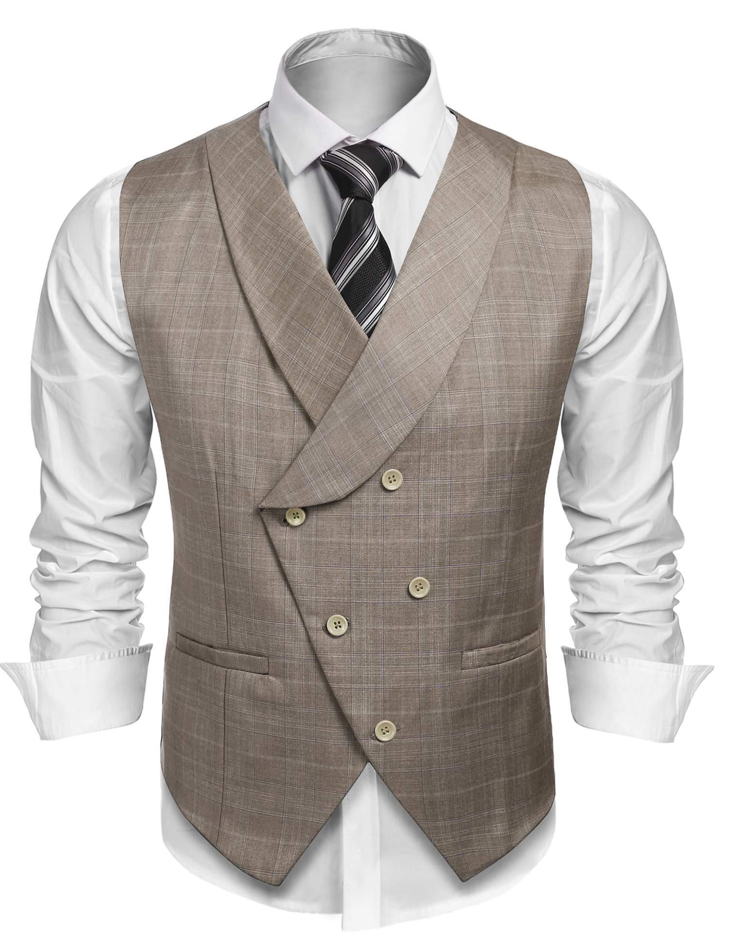 Coofandy Men's Plaid Slim Fit Double Breasted Dress Suit Button Down Vest Waistcoat,Khaki,Medium