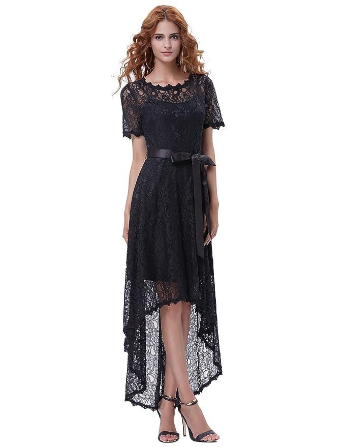 1900 Edwardian Dresses, 1910s Dresses GRACE KARIN Floral Lace Long Formal High-Low Dresses for Women Special Occasions GK1071 $13.99 AT vintagedancer.com