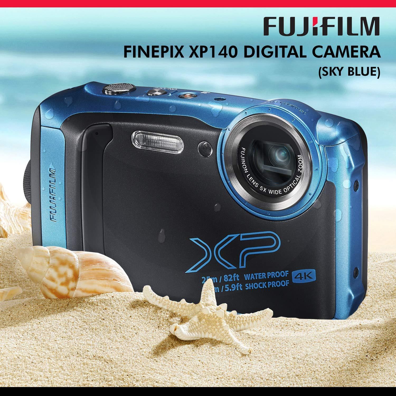 Fujifilm FinePix XP140 Waterproof Wi-Fi Digital Camera (Blue) XP140 + 64GB + Cases + Tripod + Deluxe Accessories Bundle