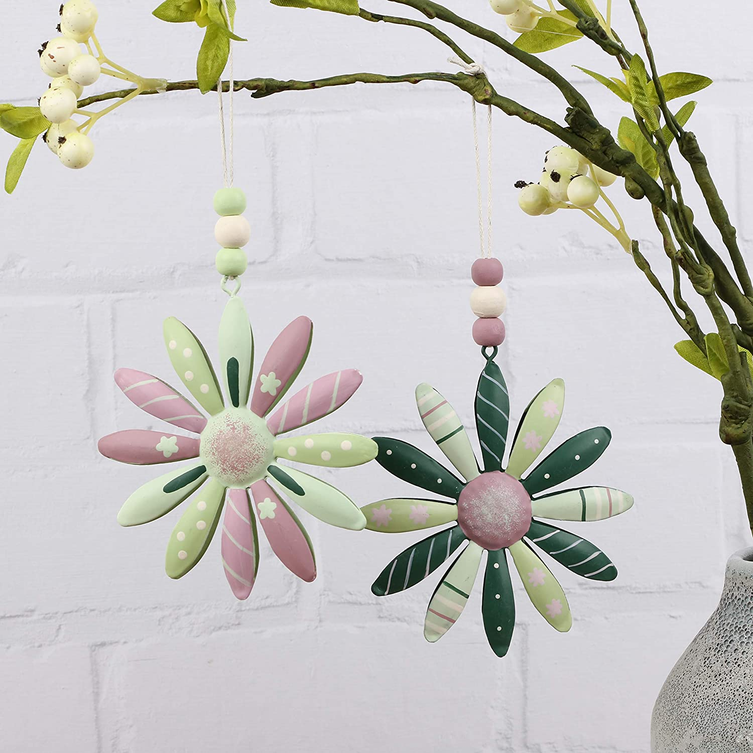 Valery Madelyn Wooden Easter Hanging Decoration Set 3pcs 23.2Inch//59cm Grey and Pink Hollowed Ornament Easter Eggs Bunnies Butterflies and Flowers Shaped Pendants with feather for Spring Decor